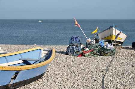 Boats on the beach Pebble in the small fishing port of Yport, commune in the Seine-Maritime department in the Haute-Normandie region in northwestern France
