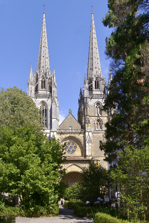 gascony: Sainte-Marie Cathedral at Bayonne, a city in the department of Pyrà © nà © es-Atlantiques, in the New-Aquitaine region of south-western France Stock Photo