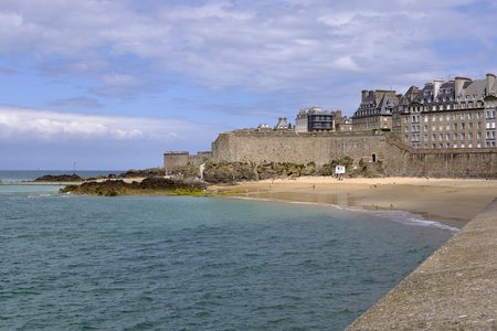 Beach and town of Saint-Malo, France on the English Channel. It is a sub-prefecture of the Ille-et-Vilaine department.
