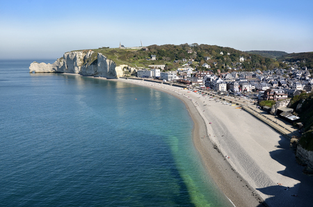 Aerial view of Etretat with its beach and village, a commune in the Seine-Maritime department in the Haute-Normandie region in northwestern France