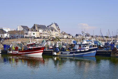 Fishing harbor of La Turballe, a commune in the Loire-Atlantique department in western France. Stock Photo