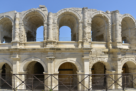 Roman amphitheater of Arles, a city and town in the south of France, in the Bouches-du-Rh?ne department, of which it is a subprefecture, in the province of Provence, located north of the Camargue.