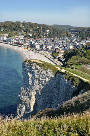 Aerial view of Etretat with its beach and village, a town famous for its high cliffs, in the Seine-Maritime department in the Haute-Normandie region in northwestern France