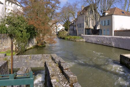 Eure river flowing in Chartres, a commune and capital of the Eure-et-Loir department in the Center-Loire Valley in France. Chartres is well known for its cathedral