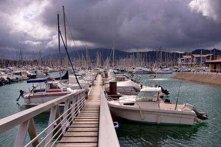 Port of Hendaye, a commune in the Pyrénées-Atlantiques department and Nouvelle-Aquitaine region of southwestern France.