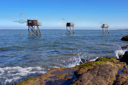Fishing carrelets at Saint-Michel-Chef-Chef in the Loire-Atlantique department in western France. Banque d'images