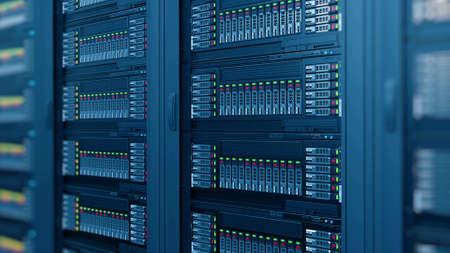 modern computer server racks at data center