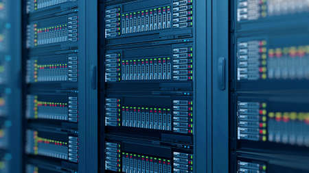 modern computer server racks at data center Standard-Bild