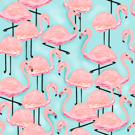 Pink Flamingos Illustration Aqua Blue Pink Tropical Birds Cute Girly Summer Exotic Fun Zdjęcie Seryjne