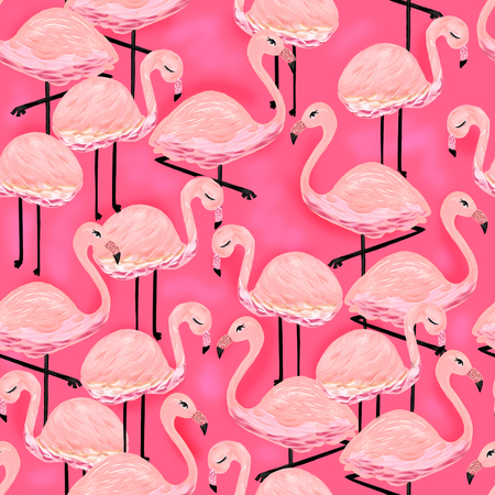 Pink Flamingos Illustration Hot Pink Tropical Birds Cute Girly Summer Exotic Fun Stock Photo