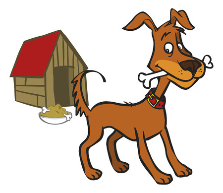 funny cartoon  dog standing near booth