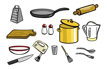 Kitchen elements icon set Çizim