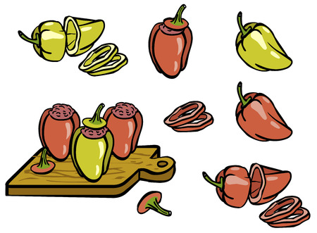 Set color simple sketch red and green peppers and stuffed peppers isolated on white background
