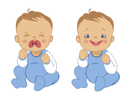 funny baby: funny cry and smile baby Illustration