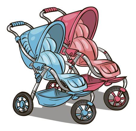 pink and blue pram for girl and boy