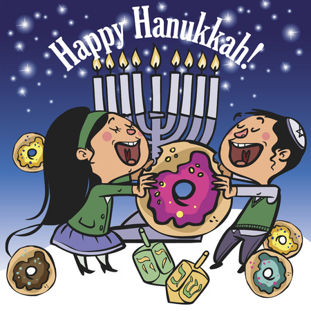 Happy children dance eating donuts and enjoy Hanukkah