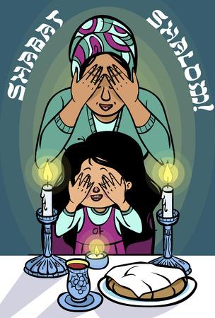 shabat: Mamá y la hija de iluminación velas shabat y leen y una bendición