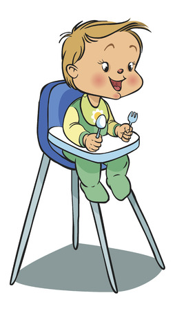 Funny vector cartoon colorfull baby on baby seat waiting lunch. Vector illustration