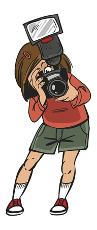 Funny vector cartoon colorfull girl makes photo Ilustrace