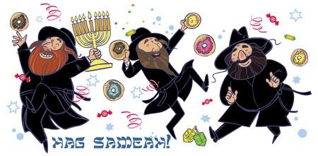 hanuka: Happy hasids dance and eating donuts and injoy hanukkah