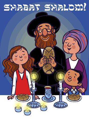 안식일을 축하하는 행복한 유태인 가족