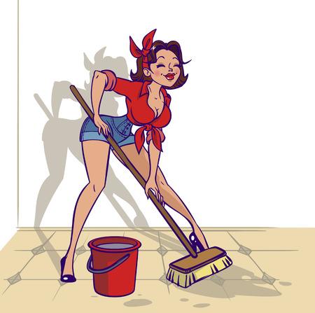 vintage lady: Grappig vector cartoon kleurrijke meisje in pin-up stijl wast iets