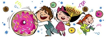 Happy children dance with donuts and injoy hanukkah Çizim