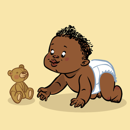 stuff toys: Funny vector cartoon colorfull crawling black baby and teddy-bear isolated background