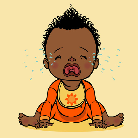 black american: vector cartoon colorfull crying black baby isolated background