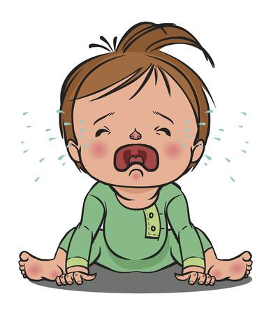 ベクトル漫画カラフル泣いている赤ん坊が背景を分離