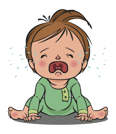 vector cartoon colorfull crying baby isolated background