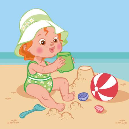 caricature: Funny cute cartoon baby playing on the beach.Vector illustration Illustration