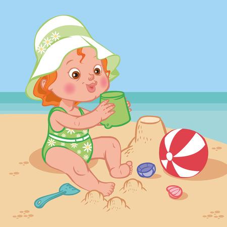 Funny cute cartoon baby playing on the beach.Vector illustration Çizim