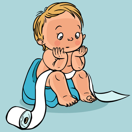 Cute cartoon baby in the toilet.Vector illustration isolated background