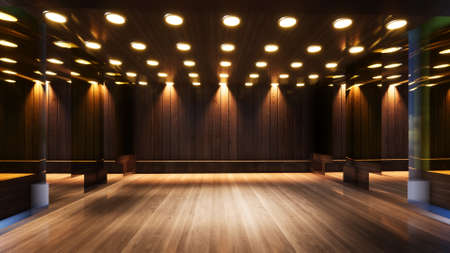 three-dimensional color background for wooden TV studio 3d rendering Banque d'images
