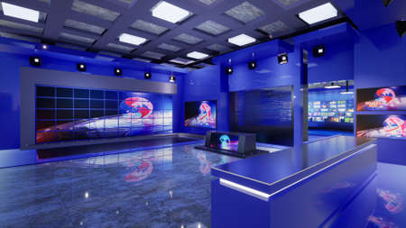 3D Virtual TV Studio News, 3d illustration