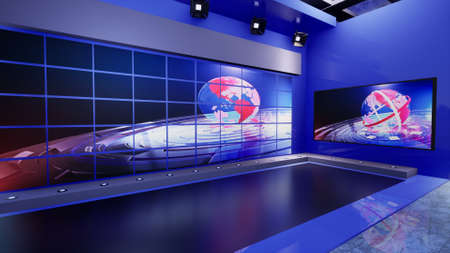 3D Virtual TV Studio News with green screen, 3d illustration