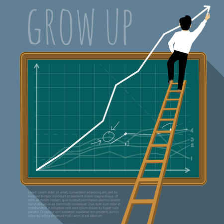 Business man creating growing stock chart. Vector template. Illustration