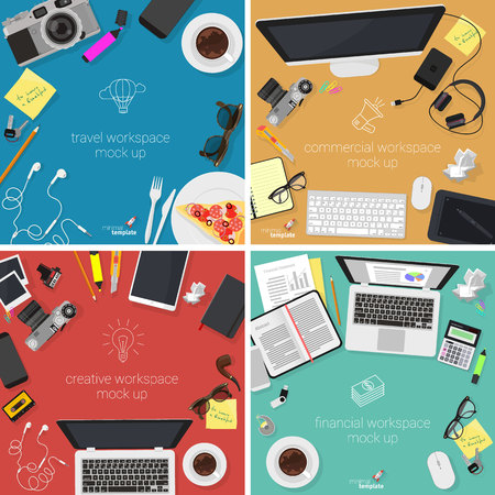 creation of sites: Office workplace top view vector template, icon and design element collection for travel, business, studio  and marketing.