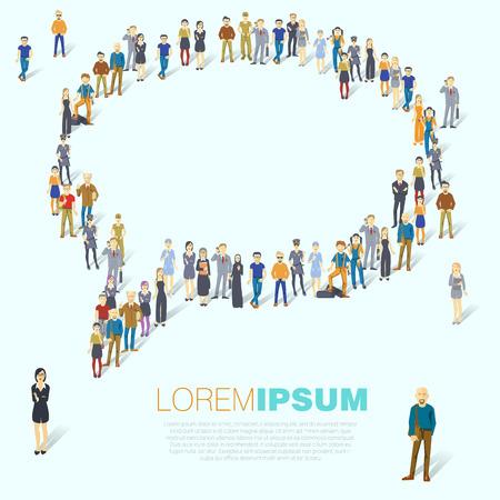 demografia: Personas multitud conformados como símbolo de la burbuja del discurso. diseño de la plantilla vector de presentación plana.