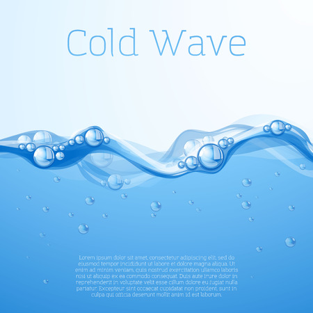 clear: Clear blue water flow with bubbles and droplets. Vector.