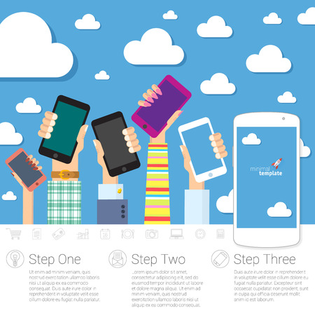 mobile communications: Flat design step by step concept for mobile communications