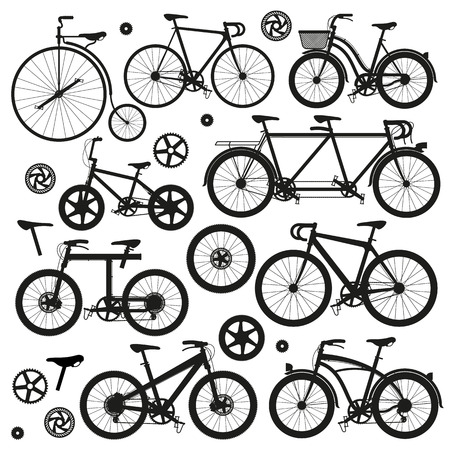 crosscountry: Bicycle modern and vintage types and models vector silhouettes.