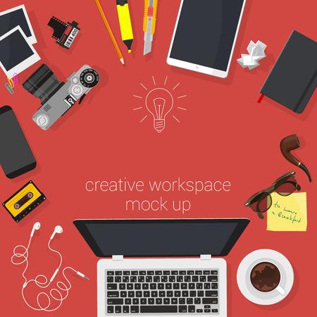 work space: Top view lat design creative studio work space. Minimalist vector template.. Illustration