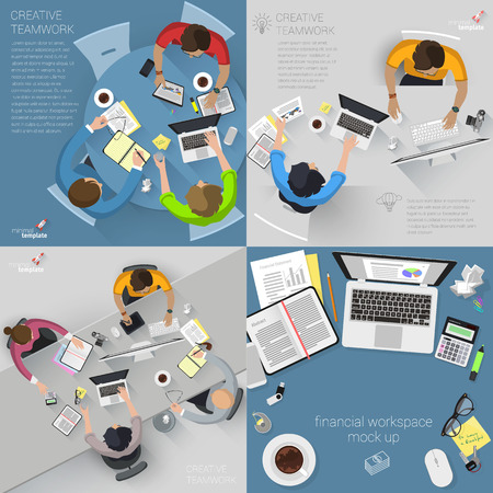 work space: Top view flat design creative office work space. Vector template collection.