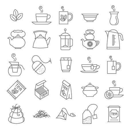 bottons: Thin line Tea vector icon set. Easy to edit line weight. Illustration