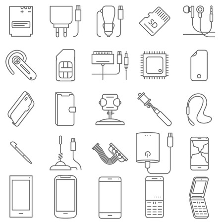 Thin line mobile shop and service vector icon set. Illustration