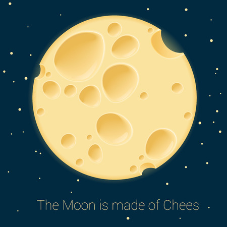 Yellow cheese moon. Vector poster mock up.