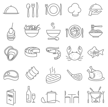 bottons: Thin line restaurant menu vector icon set. Easy to edit line weight.