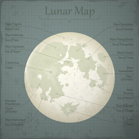 tranquillity: Vector detailed lunar map with named main topographic sites.